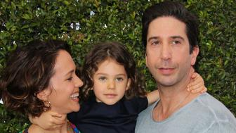 LOS ANGELES, CA - APRIL 26:  Actors Zoe Buckman (L) and David Schwimmer (R) with their Daughter Cleo Buckman Schwimmer (C) attend the 12th Annual John Varvatos Stuart House Benefit at John Varvatos on April 26, 2015 in Los Angeles, California.  (Photo by Paul Archuleta/FilmMagic)