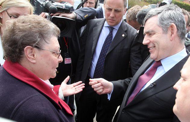 Gordon Brown speaking to Gillian Duffy in Rochdale in