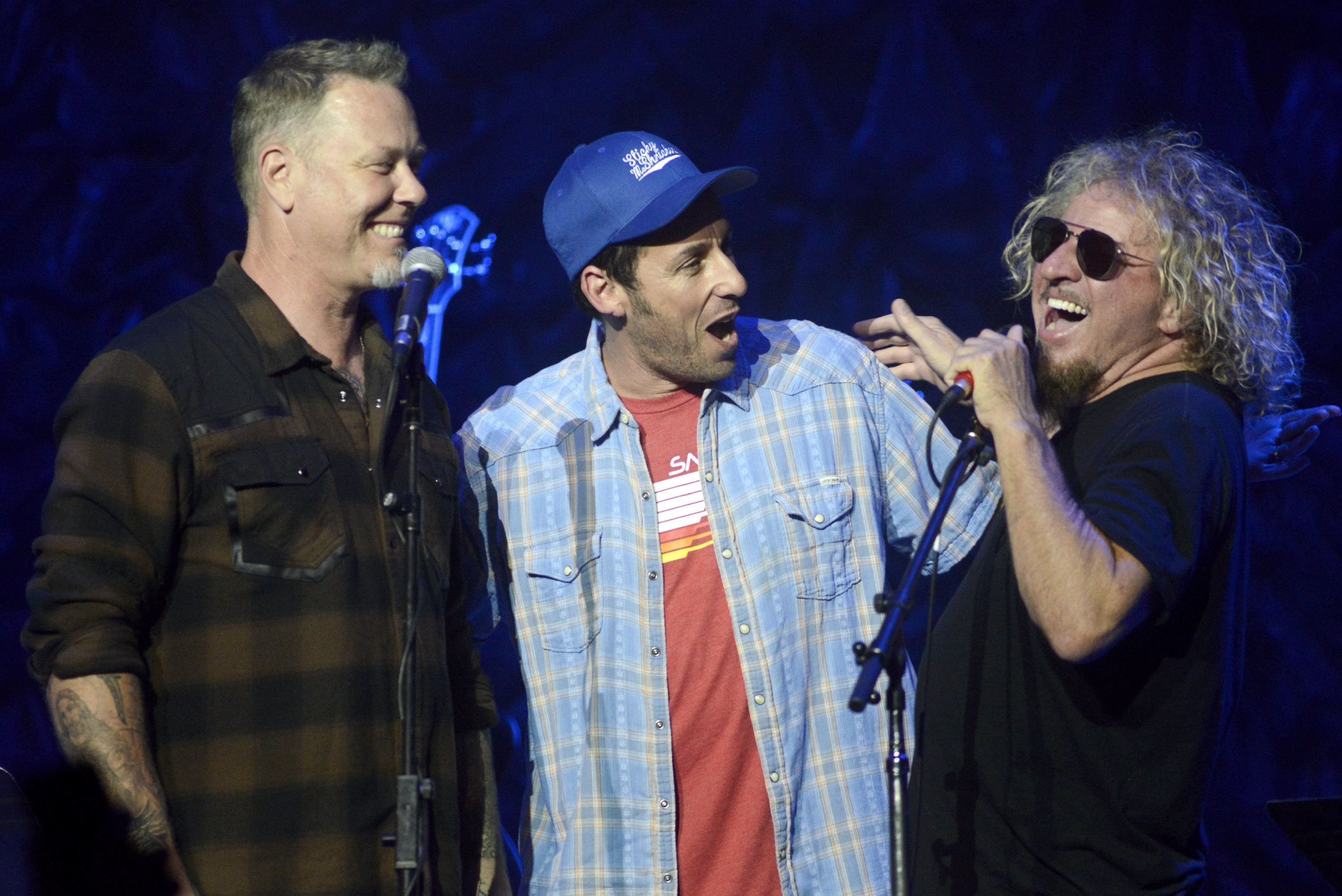 SAN FRANCISCO, CA - MAY 15:  (L - R) James Hetfield, Adam Sandler, and Sammy Hagar perform during the 2nd Annual 'Acoustic-4-A-Cure' Benefit Concert  at The Masonic Auditorium on May 15, 2015 in San Francisco, California.  (Photo by Tim Mosenfelder/Getty Images)