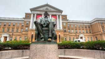 Statue of President Abraham Lincoln in front of Bascom Hall at the University of Wisconsin-Madison.