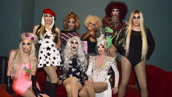 LOS ANGELES, CA - FEBRUARY 04:  Alaska 5000, Manila Luzon, Bianca Del Rio, Sharon Needles, Raja, Ivy Winters, Phi Phi O'Hara and Adore Delano attend 'RuPaul's Drag Race' Battle Of The Seasons 'Condragulations' Tour LA Event at The Belasco Theater on February 4, 2015 in Los Angeles, California.  (Photo by Araya Diaz/Getty Images)