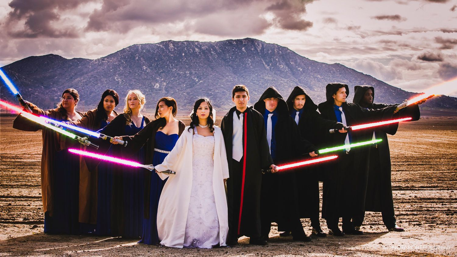 The whole bridal party took part in a choreographed lightsaber battle during the reception.