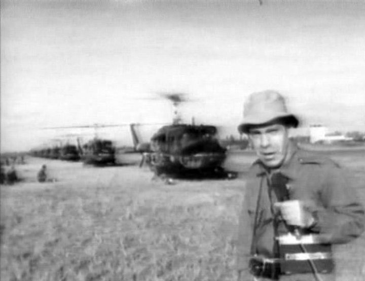 Morley Safer, correspondent for CBS News, reports from the Mekong Delta, Vietnam, during the Vietnam War in 1965. Photo is a