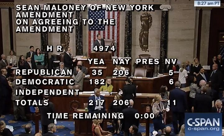 The clock hit zero and the votes were there to pass Maloney's amendment. But GOP leaders held the clock open for several more
