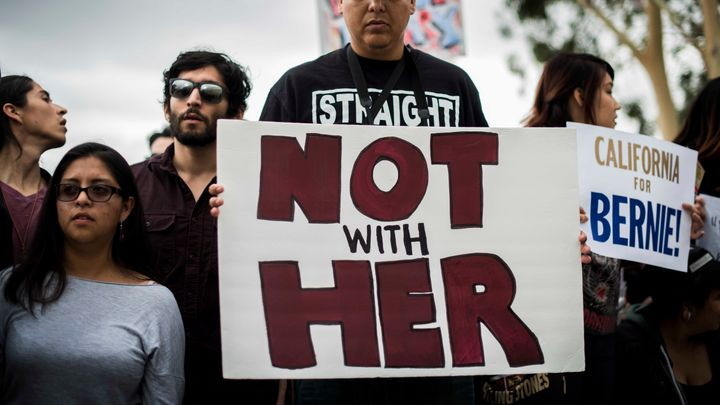 Bernie Sanders supporters protest outside of a Hillary Clinton rally in Los Angeles earlier this month.