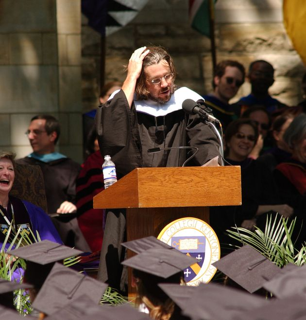 David Foster Wallace giving the commencement address at Kenyon College's 2005 graduation. He faced an...