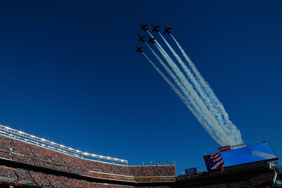 SANTA CLARA, CA - FEBRUARY 07:  The Blue Angels perform a fly-over prior to Super Bowl 50 between the Denver Broncos and the