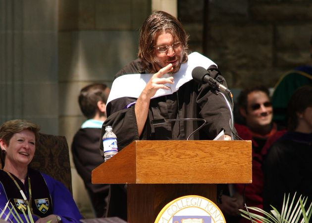 Georgia Nugent, then the president of Kenyon College, listens as David Foster Wallace gives his commencement...