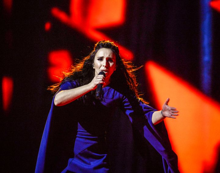 "Ukraine's Jamala performs her winning song ""1944"" during the Eurovision Song Contest final at the Ericsson Globe Arena in Sto"