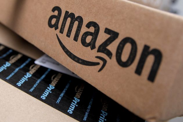 Amazon boxes are seen stacked for delivery in the Manhattan borough of New York City, January 29,