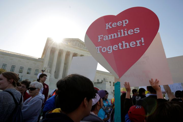 Immigration activists rally outside the U.S. Supreme Court as ithears argumentsover the legality of President Bar
