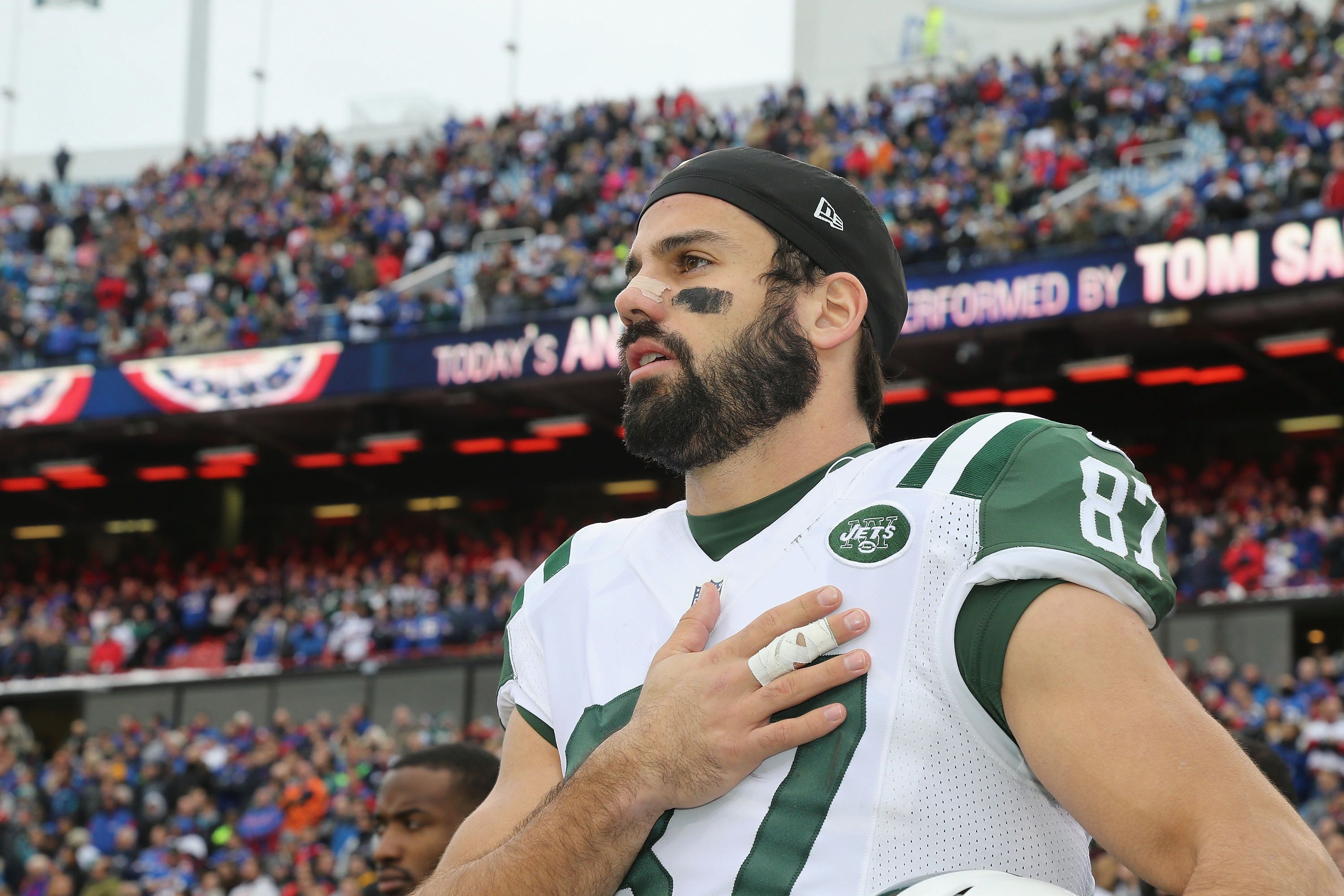ORCHARD PARK, NY - JANUARY 03:  Wide Receiver Eric Decker #87 of the New York Jets participates in the National Anthem before the game against the Buffalo Bills at Ralph Wilson Stadium on January 3, 2016 in Orchard Park, New York.  (Photo by Al Pereira/Getty Images for New York Jets)