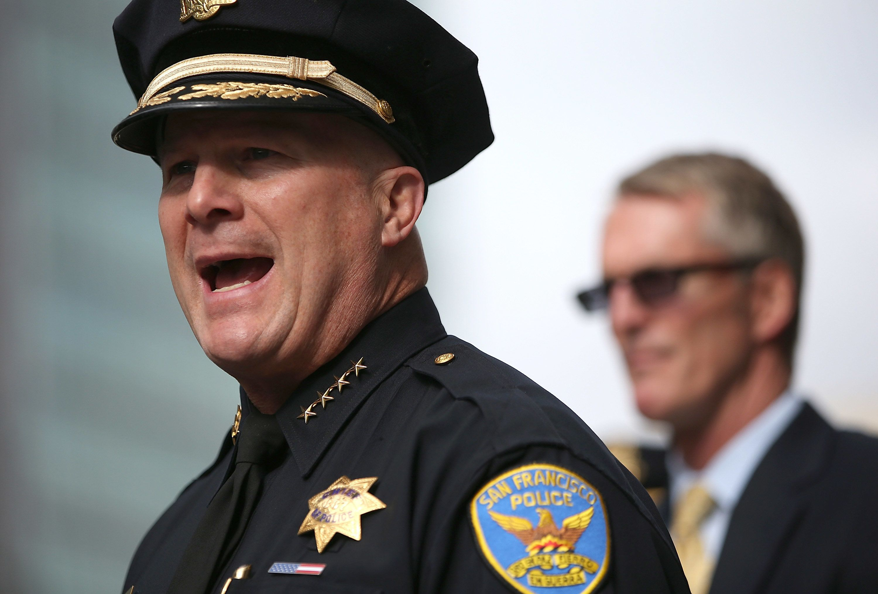 SAN FRANCISCO, CA - JUNE 03:  San Francisco police chief Greg Suhr (L) and FBI Special Agent in Charge David Johnson (R) hold a news conference to discuss the arrest of San Francisco political and media consultant Ryan Chamberlain on June 3, 2014 in San Francisco, California. San Francisco police officers arrested Chamberlain on Monday afternoon on suspicion of possessing explosives in violation of federal law after a three day nationwide manhunt.  (Photo by Justin Sullivan/Getty Images)