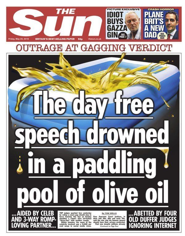 The Sun front page reacting to the celebrity threesome injunction couple's court