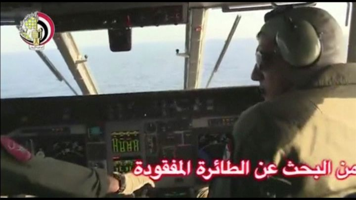 Pilots of an Egyptian military plane take part in a search operation for the EgyptAir plane that disappeared in the Mediterra
