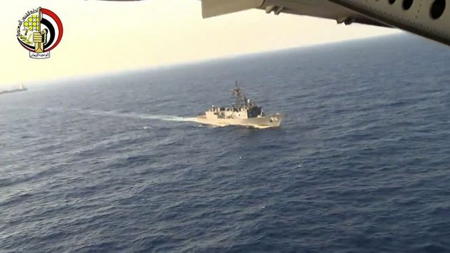 Egyptian military vessels patrolling the sea during the search for the