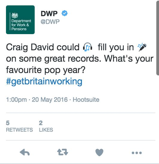 DWP Tweet About Craig David, Confuses, Amuses And Angers All In Equal
