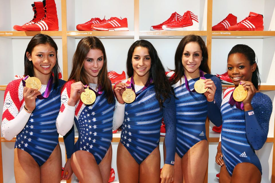 LONDON, ENGLAND - AUGUST 08:  (FREE FOR EDITORIAL USE) Kyla Ross, McKayla Maroney, Aly Raisman, Jordyn Wieber and Gabrielle D