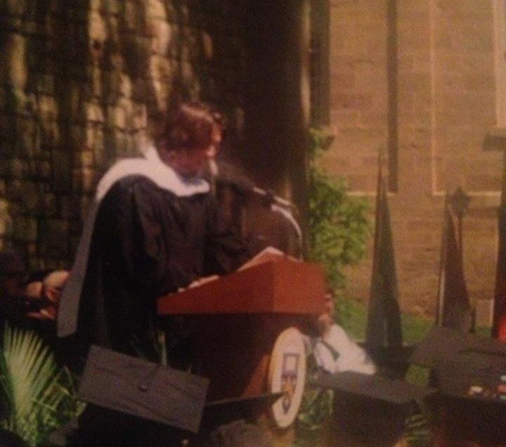 David Foster Wallace speaks at Kenyon College's graduation in 2005. His speech was a crystallization of themes he was exploring in his final novel.