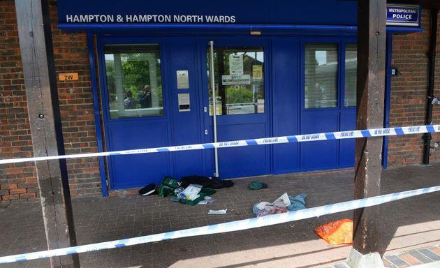 A police cordon at the scene at Hampton Police