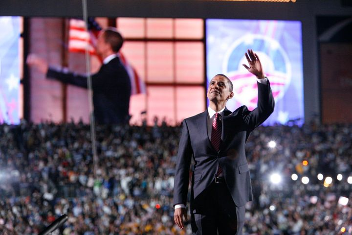 Barack Obama speaks to the crowd on the final night of the 2008 Democratic National Convention. He was the first African