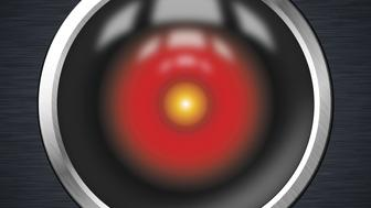 Illustration of a CCTV red eye with metal texture and reflections.