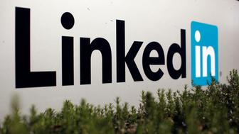 The logo for LinkedIn Corporation, a social networking networking website for people in professional occupations, is shown in Mountain View, California February 6, 2013.  LinkedIn Corp on February 7, 2013, reported quarterly profit that beat Wall Street expectations and offered a bullish forecast for the new year, boosting shares in after hours trading. Picture taken February 6. REUTERS/Robert Galbraith  (UNITED STATES - Tags: SCIENCE TECHNOLOGY BUSINESS)