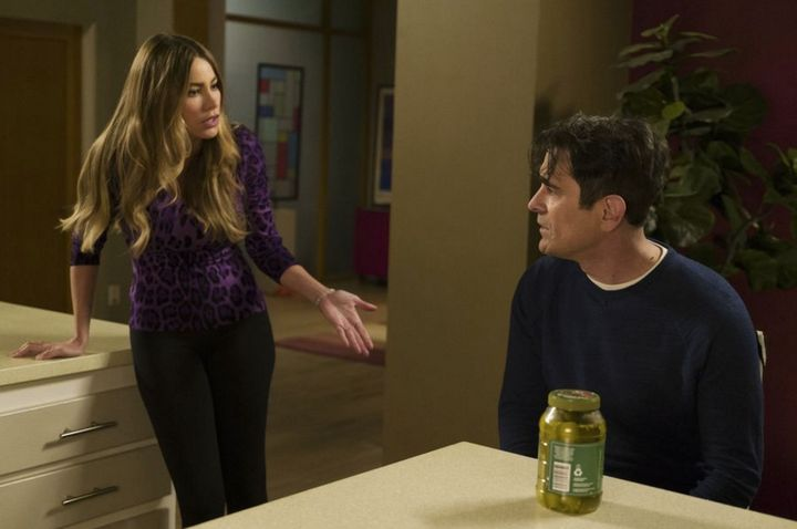 Sofia Vergara, left, as Gloria Pritchett and Ty Burrell, right, as Phil Dunphy.