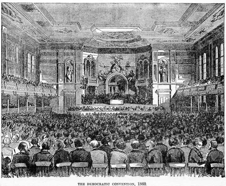 The 1860 convention in Charleston, South Carolina, was disrupted by a clash over the issue of slavery and adjourned