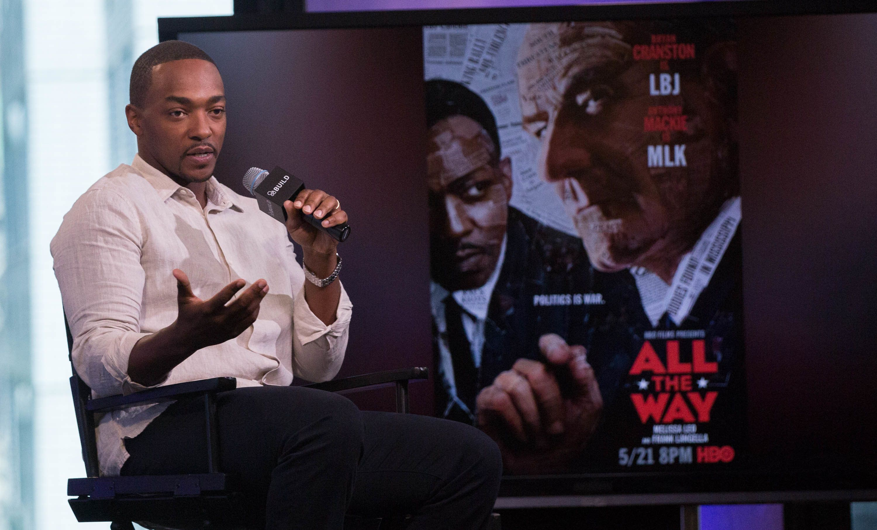 NEW YORK, NY - MAY 18:  Actor Anthony Mackie discusses 'All The Way' At AOL Build at AOL on May 18, 2016 in New York City.  (Photo by Adela Loconte/WireImage)