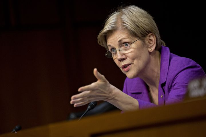 Sen. Elizabeth Warren (D-Mass.) questions witnesses during a Senate committee hearing on Valeant Pharmaceuticals in Wash