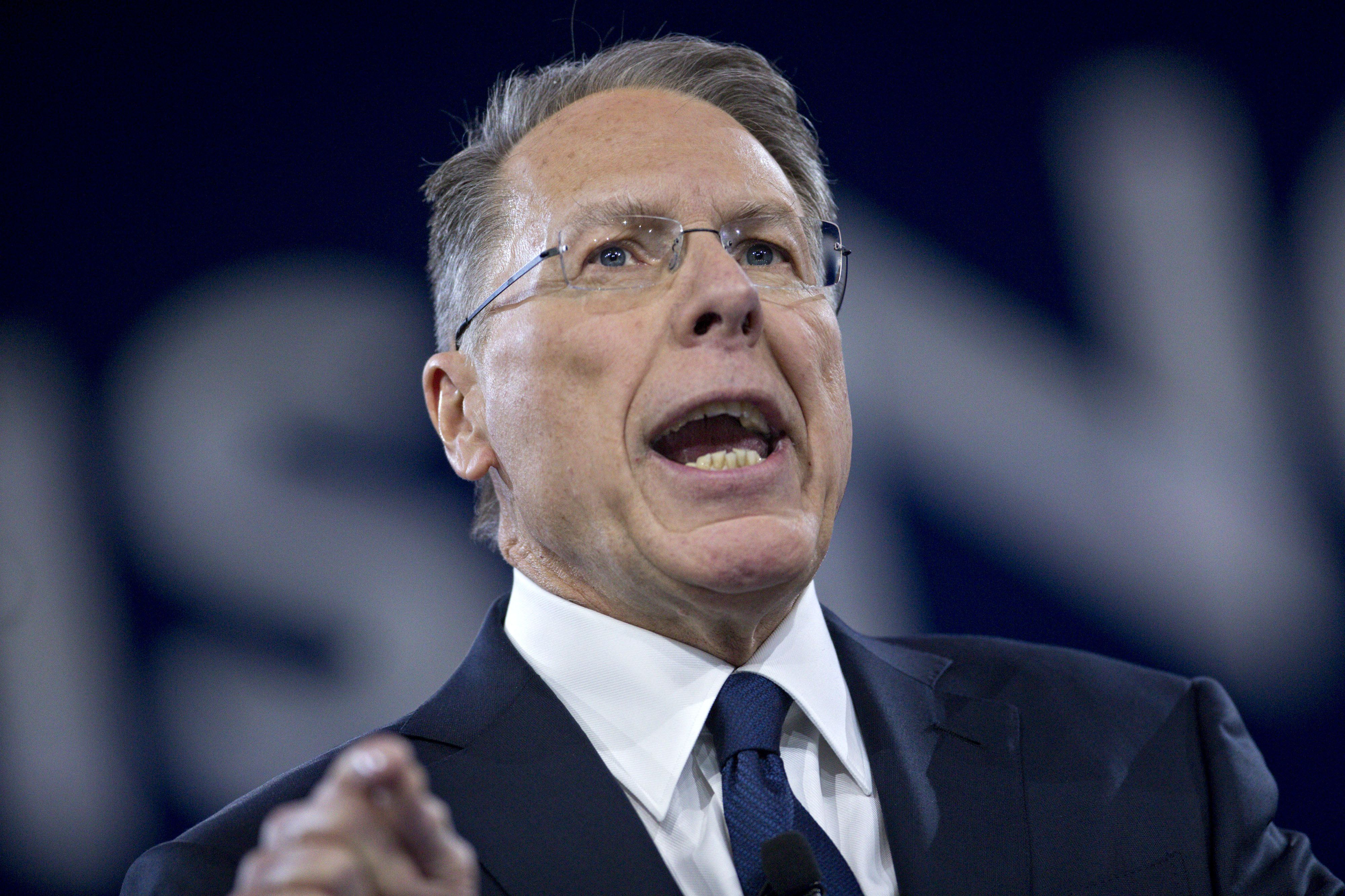 Wayne LaPierre, chief executive of the National Rifle Association (NRA), speaks during the American Conservative Unions Conservative Political Action Conference (CPAC) meeting in National Harbor, Maryland, U.S., on Thursday, March 3, 2016. CPAC runs until March 5 with the five remaining 2016 Republican presidential candidates speaking. Photographer: Andrew Harrer/Bloomberg via Getty Images