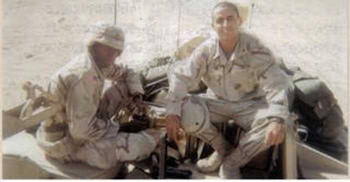 Sangi, right, in Kuwait during Operation Desert Spring in 2001.