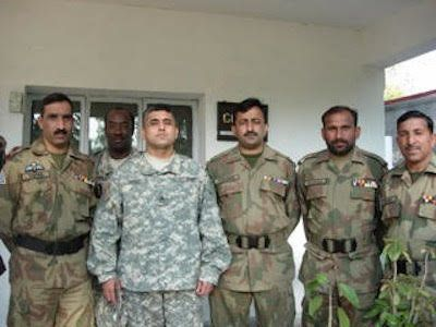 Sangi, second from the left, with officers in the Pakistan Army.