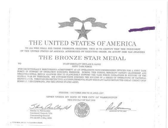 A certificate commemorating the Bronze Star Medal issued to Hanif Sangi.