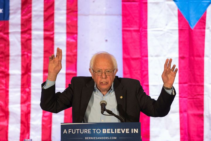 Sen. Bernie Sanders (I-Vt.) speaks at a campaign rally in San Juan, Puerto Rico on May 16, 2016. Sanders has come out st