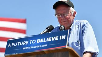 Democratic presidential candidate Bernie Sanders addresses a rally at the Santa Clara County Fairgrounds in San Jose, California on May 18, 2016.  / AFP / JOSH EDELSON        (Photo credit should read JOSH EDELSON/AFP/Getty Images)