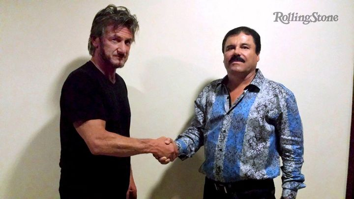 Actor Sean Penn shakes hands with Joaquin Guzman in this photo provided by Rolling Stone.
