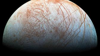The puzzling, fascinating surface of Jupiter's icy moon Europa looms large in this image taken by NASA's Galileo spacecraft in the late 1990s. This shows the largest portion of the moon's surface at the highest resolution.