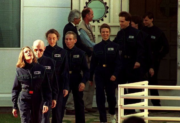 Poynter, fifth from the right. After two years of voluntary confinement in the Biosphere 2 project in...