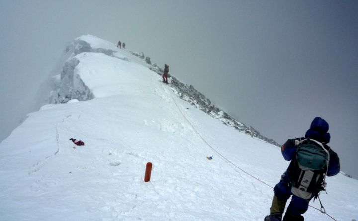 More than 300 people have climbed Mount Everest since May 11. Here, mountaineers descend from the summit in May 2009.