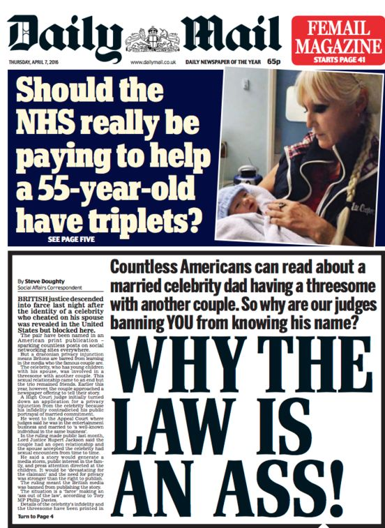 ADaily Mail front page protesting that an injunction prevented it naming the married celebrity...