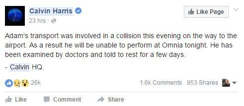 Calvin Harris Cancels Gigs After Being Rushed To Hospital Following Car Crash In Los