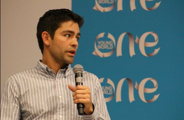 Adrian Grenier speaking at the first One Young Worldexpert event, which is focused on the environment...