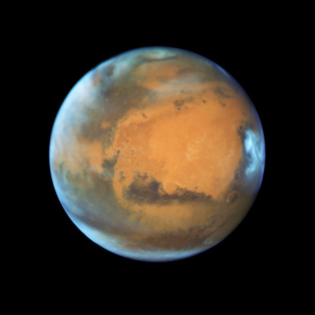 The Hubble Space Telescope snapped this image of Mars just days before the red planet's opposition on...