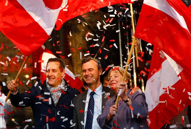 Austrian far right Freedom Party (FPOe) presidential candidate Norbert Hofer at a a final election...