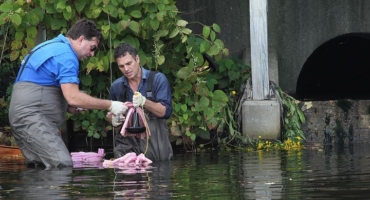 Actor Mark Ruffalo, right, in Boston's Charles River with Scott Smith last September.