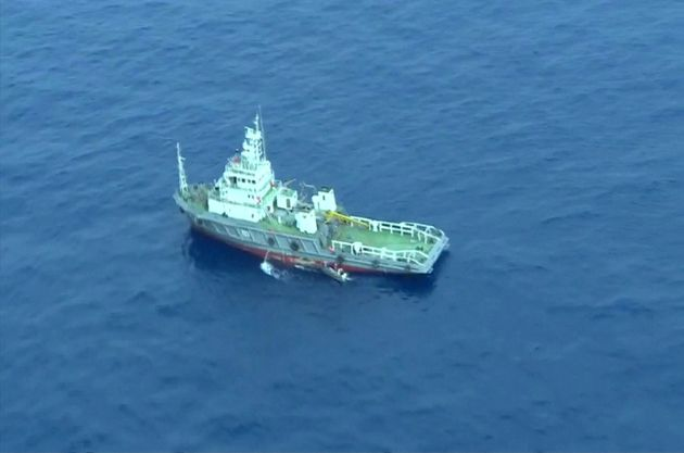 An aerial view of a vessel is seen as rescue teams recover debris of the EgyptAir jet that crashed in...