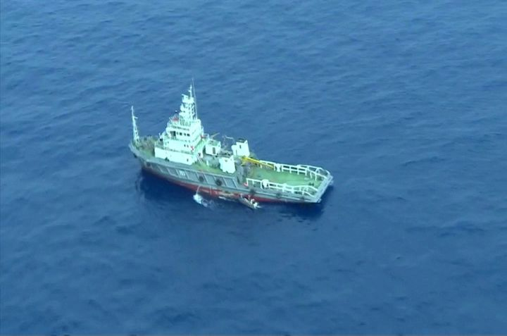An aerial view of a vessel is seen as rescue teams recover debris of the EgyptAir jet that crashed in the Mediterranean Sea,