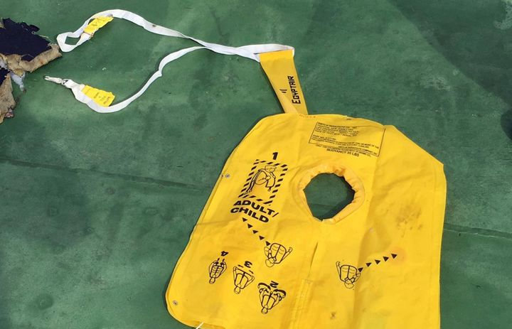 A life jacket among recovered debris of the EgyptAir jet that crashed in the Mediterranean Sea is seen in this handout image